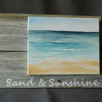 Hand painted seascape on canvas, Beach, Cottage, camping, Wall art, Distressed, barnwood, Reclaimed Wood Pallet Art, Sunshine, Shabby Chic