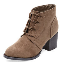 Teens Stone Lace Up Block Heel Boots