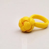 yellow paracord ring with diamond knot, friendship ring, infinite loop, design ring, knotted ring, handmade ring made in italy