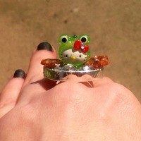 Hello Bling Kitty Green Frog Sterling Plated Ring