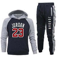 New men Hoodie set Jordan 23 tracksuit Sweatshirt set Hoodie + sweatpants jogging Homme Pullover 3XL sweatsuit for men
