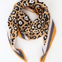 Fancy Feline Yellow Leopard Print Handkerchief Scarf