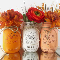 Hand Painted Mason Jars - Rustic, Home Decor | Set of Three Painted Jars -- Orange, White and Peach