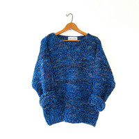 Vintage chunky knit sweater. Speckled sweater. Loose knit sweater.