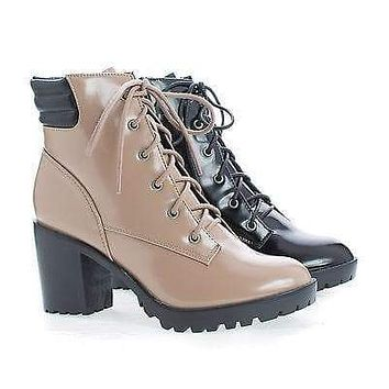 Ranger22 By Breckelle's, Lace Up Padded Collar Lug Sole Heel Combat Ankle Boots