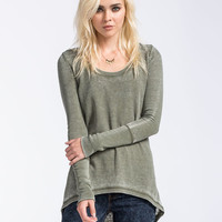 Fox Runaway Womens Hi Low Thermal Olive  In Sizes