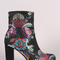 Floral Brocade Satin Chunky Heeled Ankle Boots