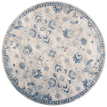 "Blue and Grey Rug - 7'7"" Round Polypropylene Grey/Blue Area Rug"