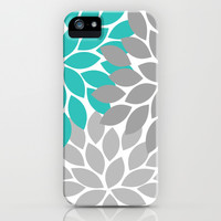 Bold Colorful Turquoise Gray Dahlia Flower Burst Petals iPhone & iPod Case by TRM Design