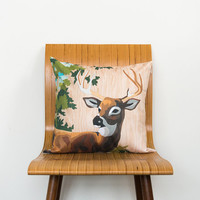 Paint by Number Deer Pillow Cover with Wood Grain - buck, stag, woodland, vintage, retro, cushion