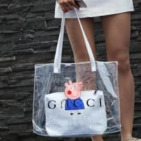 GUCCI & Piggy Pegg Co-branded Transparent Jelly Mdm Bag Shoulder Bags Two-piece F-AGG-CZDL Blue