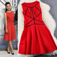 Casual Black Line Design Red Sleeveless Zipper Back Midi Dress