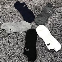 Lacoste Men Fashion Casual Sport 100% Cotton Socks+Gift Box