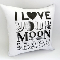I Love You to The Moon and Back Pillow Case, 14X14 Slipcover, White and Grey, Shabby Chic with Envelope Back, Home Decor, Romantic