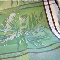 """io-H102 Indoor Outdoor Large Block Leaf Jacquard 60 x 102"""" Oblong Tablecloth Elegant Green Chocolate Brown"""