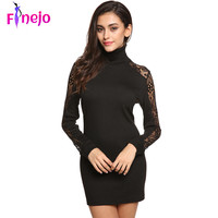 FINEJO Women Sexy Black Dress Bodycon Autumn High Neck Dresses Hollow Out Long Sleeve Vestidos Robe Longue Femme  Plus size S-XL