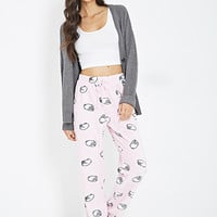 FOREVER 21 Sheep Print PJ Pants Pink/White