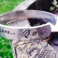 """Hand Stamped 'All the Colors' 1/2"""" Aluminium Cuff Bracelet, All The Bright Places, Finch & Violet, Jennifer Niven,Book Jewellery, Quote,OOAK"""