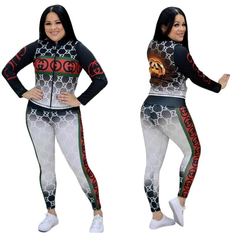 Image of GUCCI Fashion Women Long Sleeve TOP Pants Two-Piece