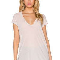 James Perse High Gauge Jersey Deep V Tee in Pink Hue
