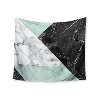"KESS Original ""Geo Marble and Mint"" Black Art Deco Wall Tapestry"