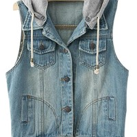 VonFon Women's Sleeveless Hoodie Bleached Denim Jacket Light Blue