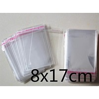 200 PCS 8x17cm 8*17cm Thicker Packaging Self Adhesive Seal bags Plastic OPP Clear Pack Jewelry Gift Bag Cookie Bag Poly Bag