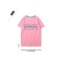 SUPERONE port tide brand personality letters T shirt  Pink