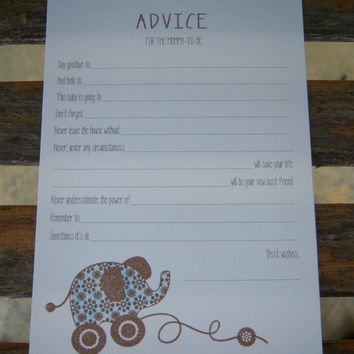 Baby Shower Games - Advice for Mommy-to-Be Cards - Blue Elephant Pull-Toy - Set of 10