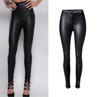 New Buckle High-waist Stretch Black Women Jeans Motorcycle Models Leather Pencil Pants European Style Fashion Wild Skinny Pants