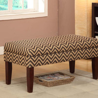 Chocolate/Tan Chevron Decorative Storage Bench
