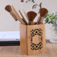 Wood desk pen pencils holder office storage carving box accessories container stationary sundries desktop organizer vintage gift