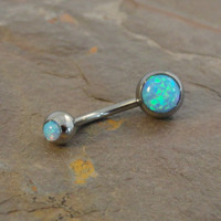 Turquoise Blue Fire Opal Belly Button Jewelry Ring