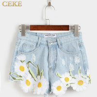 High Waist Denim Shorts Women 2017 Summer Jeans Shorts Femme Hot Embroidered White Short Jeans Female