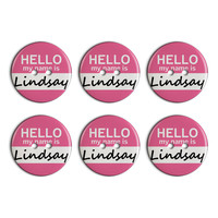 Lindsay Hello My Name Is Plastic Resin Button Set of 6