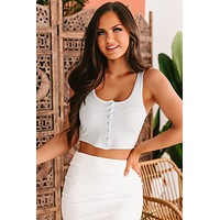 Cloudy Judgement Button-Front Cropped Tank Top (Light Blue)