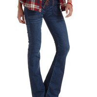 Med Wash Denim Faux Suede Lace-Up Flare Jeans by Charlotte Russe