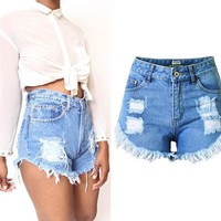 Plus Size Vintage Summer Cheap High Waist Short Jeans Casual Woman Denim Shorts  Female Loose Women Sexy Jean Shorts