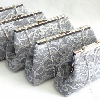 Set of Five Steel Grey, Platinum Grey Lace and Eggplant Purple Bridesmaid Gift Clutches 5% Off
