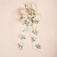 Marlow Yellow Floral Ribbon Scrunchie