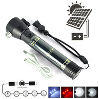 New Headswitch Led  Solar Flashlight Rechargeable Flash light Torch lamp 7Modes With built in battery For Camping /Fishing