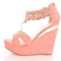 Coral Open Toe Strappy Rhinestone Wedges Faux Leather