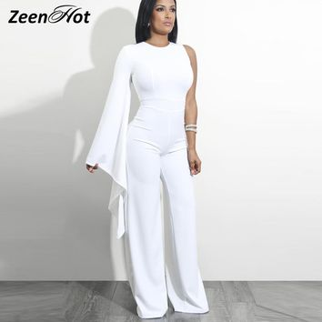 Women Fashion Irregular Jumpsuit Solid One Shoulder Long Sleeve Slim Overall Bodycon Summer Sexy Party Rompers Jumpsuits
