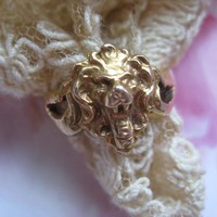 Antique 14K Repousse Lion Ring, Estate Jewelry, Victorian Gold Ring