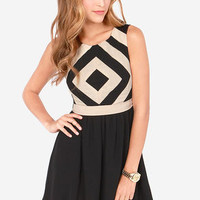 Couldn't Help But Square Beige and Black Dress