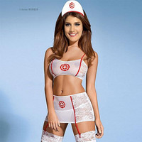 Halloween party fashion women ladies 4 pc nurse role play sexy costume girl cute elegant erotic lingerie nurse cosplay uniform