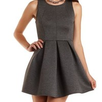 Sleeveless Pleated Skater Dress by Charlotte Russe - Heather Gray