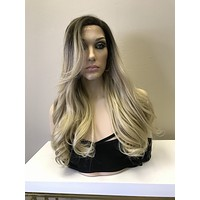 Light Ash Blonde Balayage Ombré Multi Parting Human Hair Blend Lace Front Wig - Emily