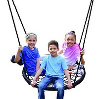 Swing N' Spin- Safety rated to 600 lb, 39 inch diameter, Adjustable hanging ropes, Ready to hang and enjoy as a family