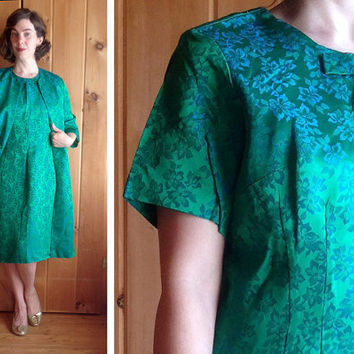 Vintage dress   Green satin brocade 1960s wiggle dress with matching duster coat